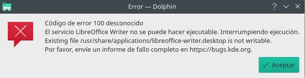 Error libreoffice